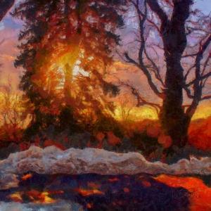 Winter sunset in Vermont
