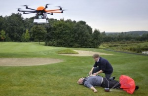High Tech: An aerial drone has dropped a defibrillator to help a man stricken on the golf course.