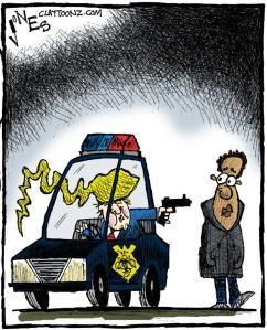 trump shoots cartoon
